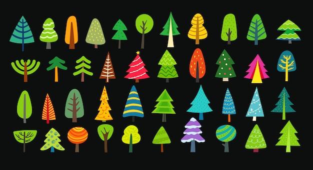 Różne ozdobne kolorowe drzewa
