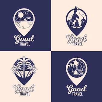 Różne pakiety logo podróży