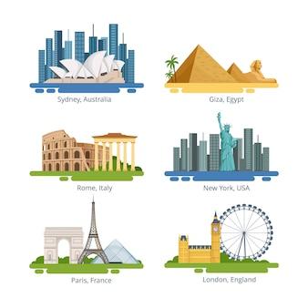 Różne panoramy miast ze słynnymi zabytkami. zestaw ilustracji wektorowych. znany punkt orientacyjny w podróży