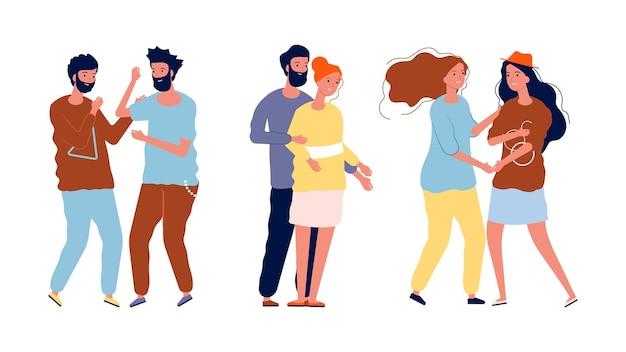 Różne pary. lgbt, lesbijki i geje, osoby homoseksualne i heteroseksualne. ilustracja wektorowa mężczyzn, kobiet w miłości, szczęśliwych przyjaciół i rodzin. para homoseksualna lgbt, miłość lesbijska i geje razem