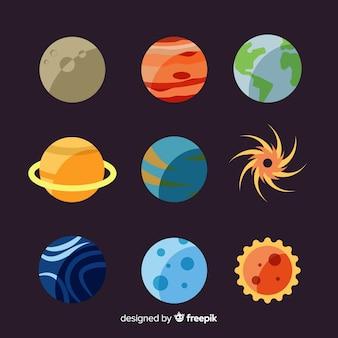 Różne planety z pakietu układu słonecznego