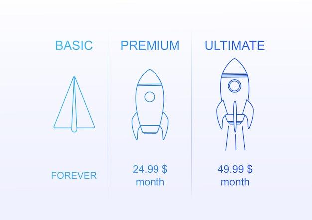 Różne plany kont dla strony internetowej infografiki na białym tle konstrukcja cienka linia rocket