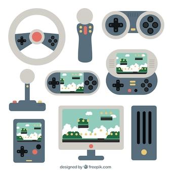 Różne płaskie akcesoria dla graczy konsolowych