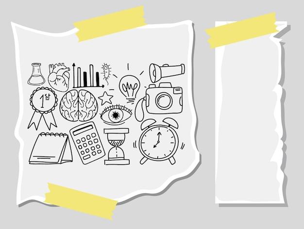 Różne pociągnięcia doodle o sprzęt szkolny na papierze czystym papierem