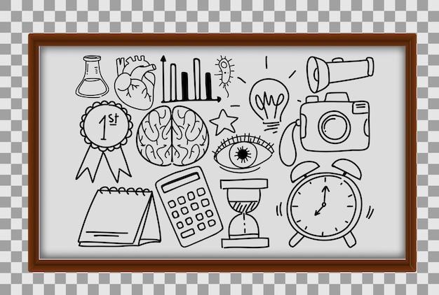 Różne pociągnięcia doodle o sprzęt szkolny w drewnianej ramie na przezroczystym tle
