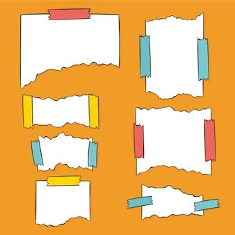 Różne podarte papiery z zestawem taśm