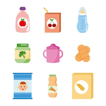 Różne pokarmy dla małego dziecka.