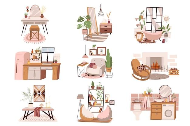 Różne pokoje w domu na białym tle zestaw scen