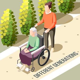 Różne pokolenia izometryczne ze starszą niepełnosprawną kobietą siedzącą na wózku inwalidzkim i młodą osobą karmiącą ilustracją