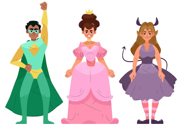 Różne postacie karnawałowe noszące ręcznie rysowane kostiumy