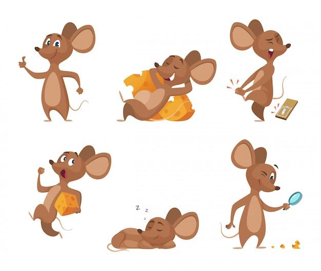 Różne postacie myszy w pozach akcji