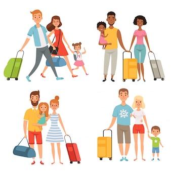 Różne postacie szczęśliwej rodziny podczas letnich podróży