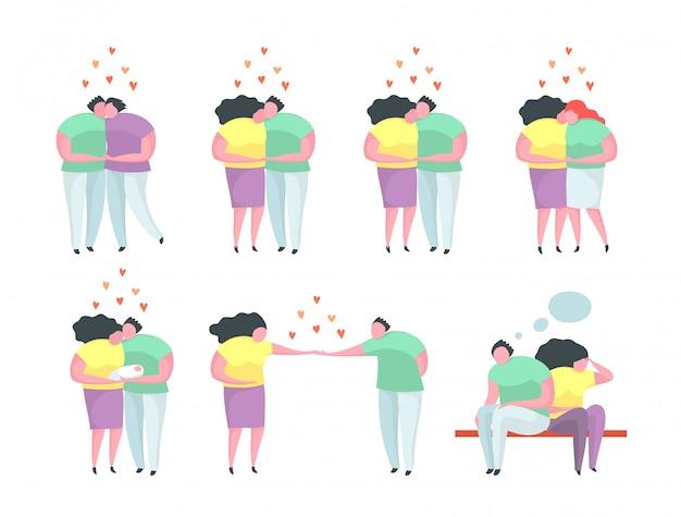 Różne postacie, uściski, pocałunki, propozycje, relacje gejowskie i lesbijskie. płaskie izolowane clip art.