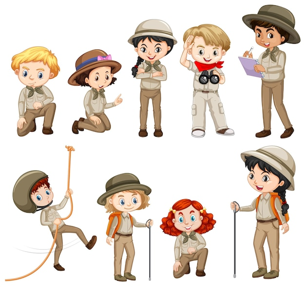Różne postacie w stroju safari
