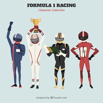 Różne postacie wyścigowe f1