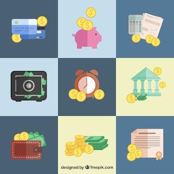 Różne pozycje pieniężne w płaskiej konstrukcji