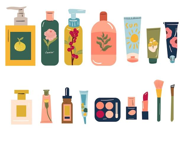 Różne produkty do pielęgnacji skóry - koncepcja pielęgnacji twarzy i ciała. ręcznie rysowane nowoczesny wektor zestaw ilustracji.