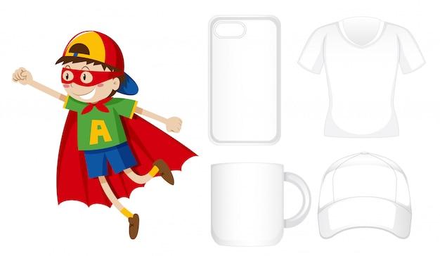 Różne produkty z chłopcem w stroju bohatera