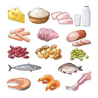 Różne produkty zawierające białko