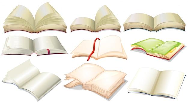 Różne projektowanie książek i ilustracji notebooków