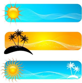 Różne projekty bannerów tropikalnych