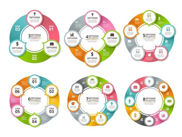 Różne promieniowe kształty i okręgi dla biznesu infographic