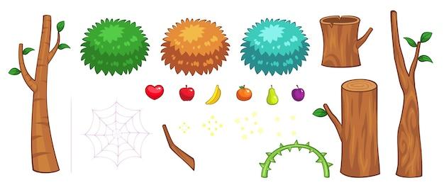 Różne przedmioty z dżungli sprites gry