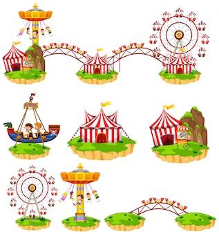 Różne przejażdżki w parku rozrywki