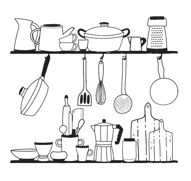 Różne przybory kuchenne do gotowania, narzędzia do przygotowywania posiłków lub naczynia stojące na półkach i zawieszone na haczykach. ilustracja wektorowa ręcznie rysowane w kolorach monochromatycznych.