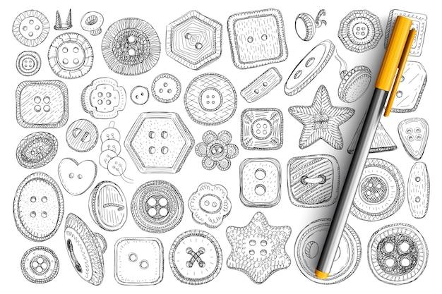 Różne przyciski do ubrania doodle zestaw. kolekcja ręcznie rysowanych guzików do szycia akcesoriów odzieżowych o różnych kształtach i rozmiarachisolated