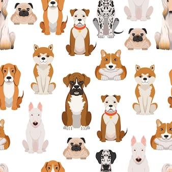 Różne psy w stylu kreskówki. wektorowy bezszwowy wzór z psią kreskówką, ilustracja zwierzęcy zwierzę domowe