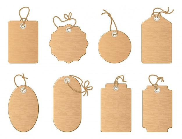 Różne puste tagi sklepowe z lnianą wstążką lub sznurem z węzłem. zestaw ilustracje wektorowe kreskówka izolować o