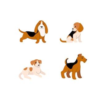 Różne rasy psów - beagle, basset hound, jack russell terrier, terier walijski. kreskówka