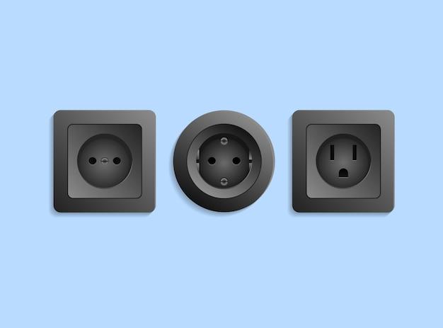 Różne realistyczne czarne gniazdka elektryczne