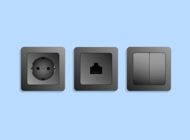Różne realistyczne czarne urządzenia elektryczne