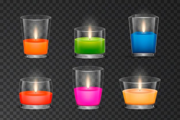 Różne realistyczne kolekcje świec zapachowych