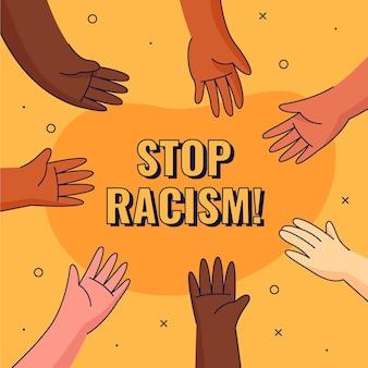 Różne ręce postaci powstrzymują rasizm