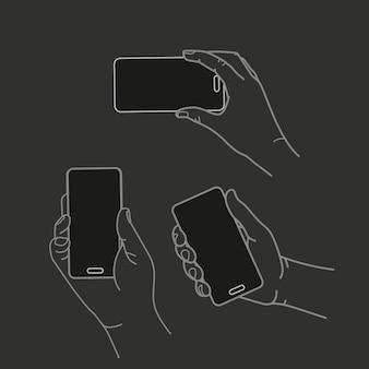 Różne ręce z nowoczesną kolekcją wektorów smartfonów. płaska konstrukcja