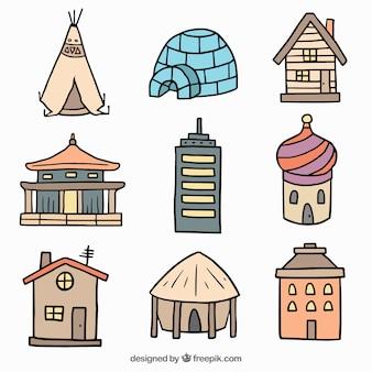 Różne ręcznie rysowane domy świata