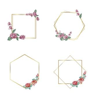 Różne ręcznie rysowane kwiatowe ramki geometryczne