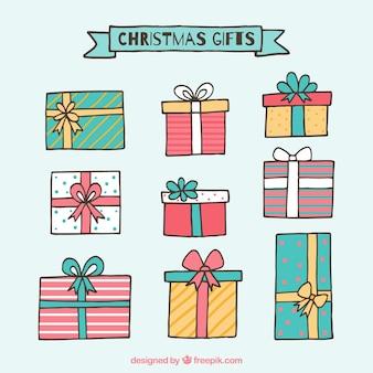 Różne ręcznie rysowane prezenty