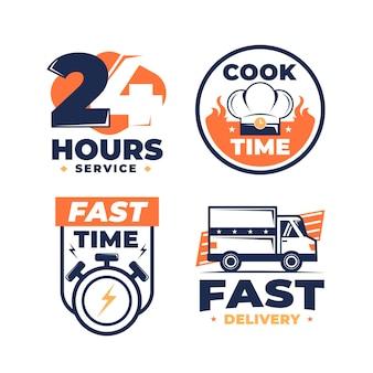 Różne ręcznie rysowane projekty logo dostawy