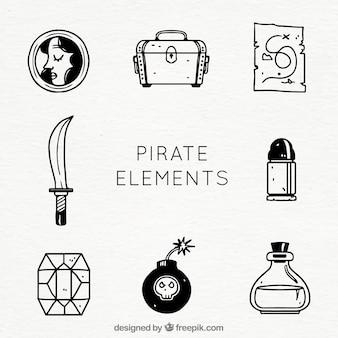 Różne ręcznie rysowane przedmioty pirackie