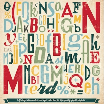 Różne retro vintage collection typografia