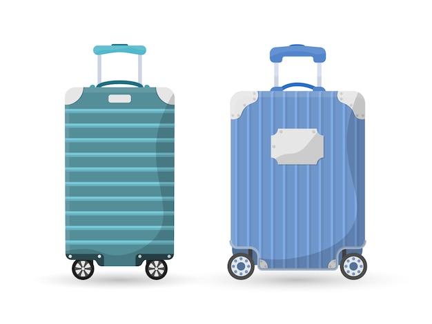 Różne rodzaje bagażu. plastikowe, metalowe walizki, plecaki, bagaż na podróż wakacje turystyka zakupy. duża i mała walizka, bagaż podręczny, przewożenie zwierząt, pudełko, torebka. .