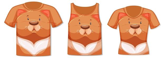 Różne rodzaje bluzek z wzorem kota