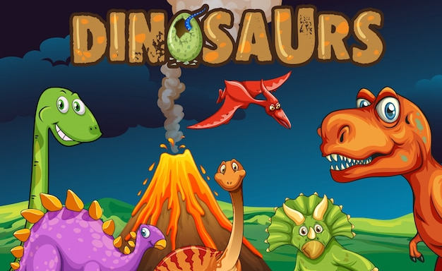 Różne rodzaje dinozaurów w nocy