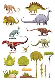 Różne rodzaje dinozaurów w stylu kreskówki z nazwą klasy i elementów krajobrazu flory na białym tle ilustracji