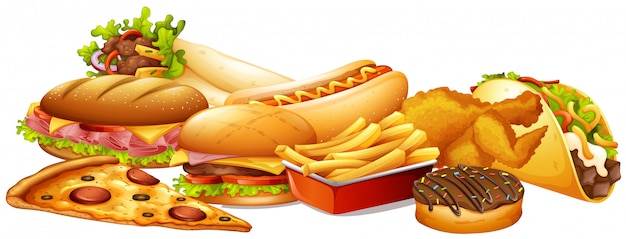Różne rodzaje fast foodów