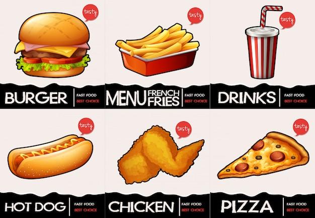 Różne rodzaje fastfood w menu